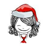 Portrait de fille de Santa, croquis pour votre conception Photos stock