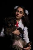 Portrait de fille et de chien Photo stock