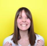 Portrait de fille fâchée Photos stock