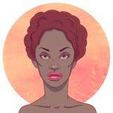 Portrait de fille sérieuse d'Afro-américain illustration stock