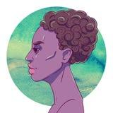 Portrait de fille sérieuse d'Afro-américain avec les cheveux courts illustration stock