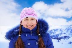Portrait de filles le jour de neige Photo libre de droits