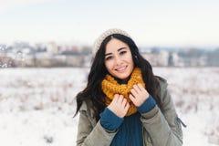 Portrait de fonte d'hiver de coeur de jolie jeune femme attendant Chr image stock