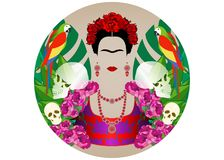 Portrait de Frida Kahlo avec des perroquets et des crânes Dia de Los Muertos Jour des morts Fond floral, diadème de vecteur d'iso Illustration Libre de Droits