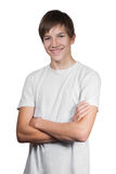 Portrait de garçon d'isolement sur le blanc Photographie stock libre de droits