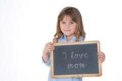 Portrait de gentil enfant tenant le tableau noir Photos libres de droits