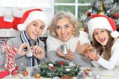 Portrait de grand-mère avec des petits-enfants Photos libres de droits
