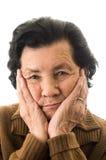 Portrait de grand-mère regardant nostalgique Image stock