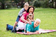 Portrait de grand-parent et de petits-enfants heureux en parc Images libres de droits