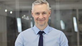 Portrait de Grey Hair Businessman de sourire dans le bureau banque de vidéos