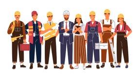 Portrait de groupe d'industrie heureuse mignonne ou travailleurs de la construction, ing?nieurs se tenant ensemble ?quipe de m?le illustration libre de droits