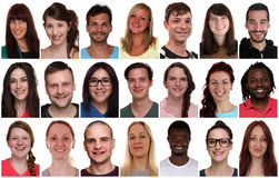 Portrait de groupe de collection des jeunes de sourire multiraciaux Photo libre de droits