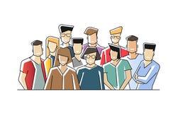 Portrait de groupe des employ?s de bureau ou des commis de sourire dr?les se tenant ensemble ?quipe de m?le gai mignon et femelle illustration de vecteur