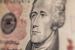 Portrait de Hamilton sur un billet de dix dollars Image libre de droits