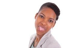 Portrait de Headshot de jeunes valeurs maximales de concentration au poste de travail de femme d'affaires d'afro-américain Image libre de droits