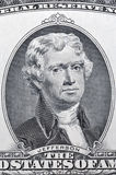 Portrait de Jefferson sur le macro de billet de banque de dollar US deux Photos stock