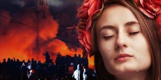 Portrait de jeune beau pleurer de femme Image libre de droits