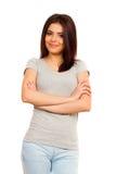 Portrait de jeune belle femme de sourire heureuse Photographie stock libre de droits