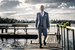 Portrait de jeune et attirant homme dans le costume bleu gris Image stock