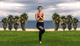 Portrait de jeune et sportive femme dans les vêtements de sport faisant le yoga dehors Photographie stock