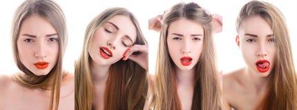 Portrait de jeune femme attirante avec le rouge photo stock