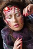 Portrait de jeune femme avec le visage créatif, photo de Halloween images stock