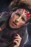 Portrait de jeune femme avec le visage créatif, photo de Halloween photo stock