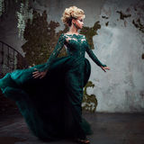 Portrait de jeune femme blonde attirante dans une belle robe verte Fond texturisé, intérieur Coiffure de luxe Images stock