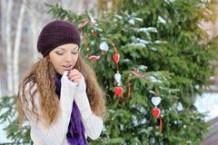 Portrait de jeune femme blonde en hiver Images libres de droits