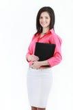 Portrait de jeune femme d'affaires de sourire heureuse, d'isolement sur le blanc Photo libre de droits