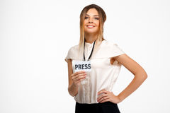 Portrait de jeune femme d'affaires réussie au-dessus du fond blanc Photographie stock libre de droits