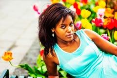 Portrait de jeune femme d'Afro-américain à New York Photos libres de droits