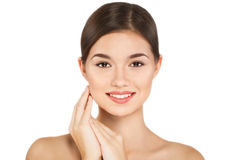 Portrait de jeune femme de beauté gai avec le maquillage naturel Images stock