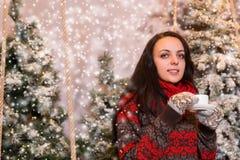 Portrait de jeune femme de sourire se reposant sous les lampes-torches Photos stock