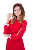 Portrait de jeune femme magnifique dans la robe rouge sur le blanc Images libres de droits