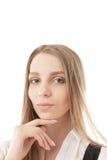 Portrait de jeune femme sur un fond blanc Images stock