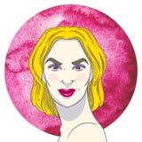 Portrait de jeune fille arrogante avec les cheveux blonds illustration libre de droits