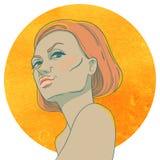 Portrait de jeune fille arrogante avec les cheveux rouges illustration stock