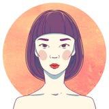 Portrait de jeune fille asiatique sérieuse illustration de vecteur