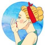 Portrait de jeune fille avec la main à sa bouche illustration libre de droits