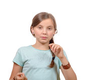 Portrait de jeune fille d'isolement sur le blanc Photo stock