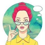 Portrait de jeune fille de roux en verres illustration de vecteur