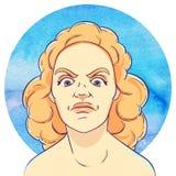 Portrait de jeune fille fâchée avec les cheveux bouclés rouges illustration stock
