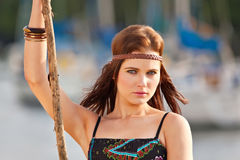 Portrait de jeune fille hippie Image stock