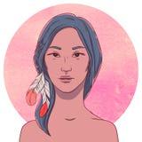 Portrait de jeune fille indigène sérieuse illustration de vecteur