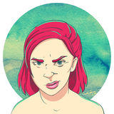Portrait de jeune fille méfiante avec le plomb de coupe de cheveux illustration libre de droits