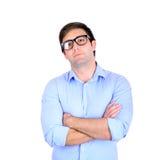 Portrait de jeune homme d'affaires beau sur le fond blanc Photographie stock