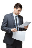 Portrait de jeune homme d'affaires bel. Photos stock