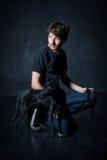 Portrait de jeune homme et de son chien Images libres de droits