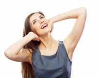Portrait de jeune isola blanc de sourire de fond de femme d'affaires Photo libre de droits